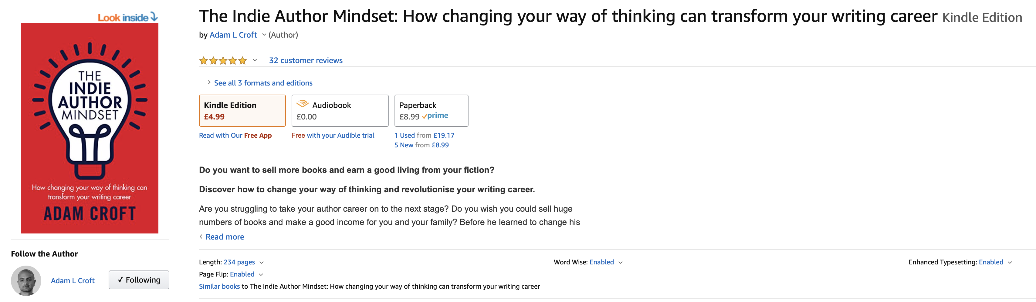 Adam Croft's The Indie Author Mindset Amazon listing